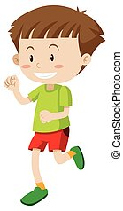 Happy boy in green shirt and red shorts illustration