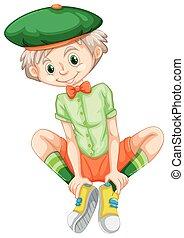 Happy boy in green shirt illustration