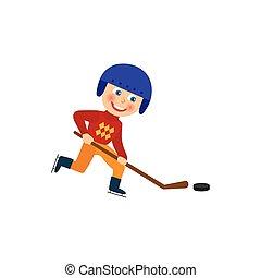 Happy boy in helmet playing hockey, winter sport