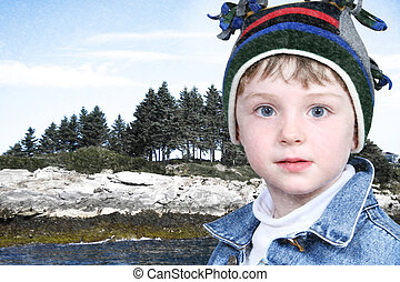 Happy Boy in Winter Clothes at Lake Park in Snow