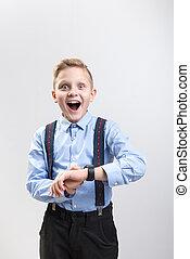 Happy boy is keen on new technology