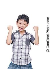 Happy boy isolated over white