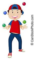 Happy boy juggling balls