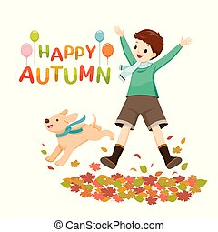 Happy Boy Jumping And Raising Hands With Dog In Autumn Season
