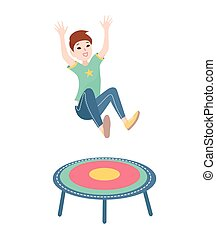 Happy boy jumping on a trampoline. Vector colorful illustration on white background.