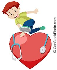 Happy boy jumping over the big red heart