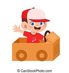 happy boy kid play toy car cardboard