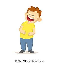Happy boy laughing out loud with arms pressed to his belly, cartoon character design. Flat vector illustration, isolated on white background.
