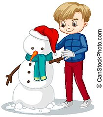 Happy boy manking snowman on white background