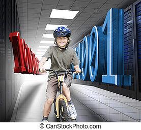 Happy boy on a bike in data center