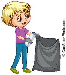 Happy boy picking up trash on white background illustration