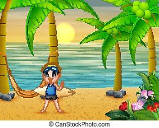 Happy boy play surfing on the beach
