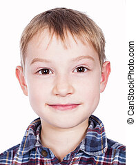 happy boy portrait on white background