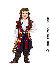 Happy boy posing in pirate costume