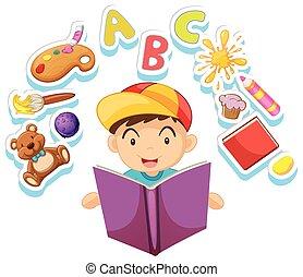 Happy boy reading storybook alone