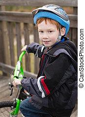 Happy Boy Riding Bicycle