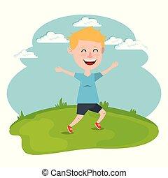 happy boy running in the field