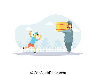Happy Boy Running to Postman in Uniform Delivering Parcel Vector Illustration