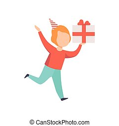 Happy boy running with gift box, kid celebrating his birthday vector Illustration on a white background