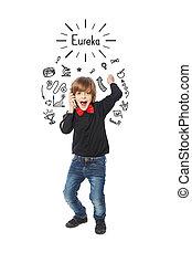 Happy boy shouting eureka