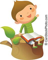 Happy boy sitting on tree log