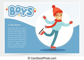 Happy boy skating on Ice rink, boys banner for advertising brochure, promotional leaflet poster, presentation flat vector element for website or mobile app