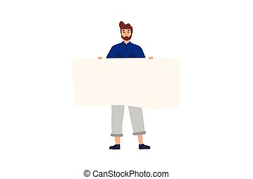 Happy boy standing and holding blank banner. Flat cartoon colorful vector illustration.