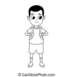 Happy boy standing icon, flat design