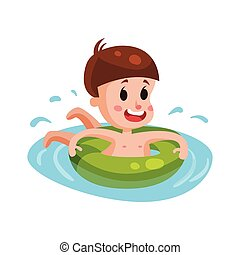 Happy boy swimming with green inflatable buoy, kid having fun in the pool or the sea colorful character vector Illustration