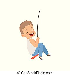 Happy boy swinging on a rope swing, little kid having fun outdoor vector Illustration on a white background