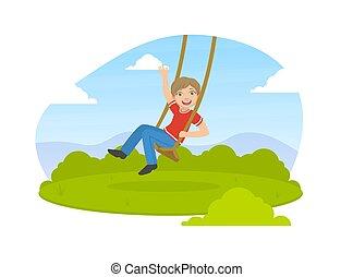 Happy Boy Swinging on Rope in Summer Park Vector Illustration
