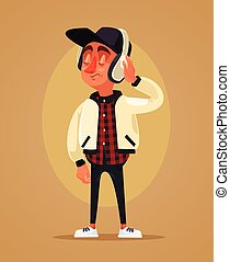 Happy boy teen character listening music. Vector flat cartoon illustration