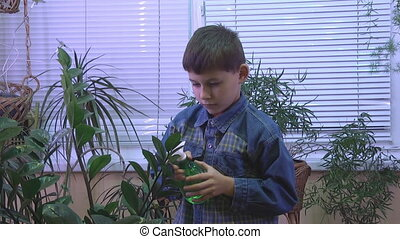 happy boy watering plants,