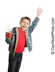 Happy boy waving - Happy boy holding a drink and waving