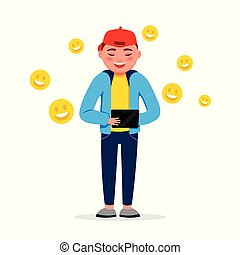 Happy boy with a tablet having chat with smile emojis isolated on white background. Funny smiling boy in flat design.