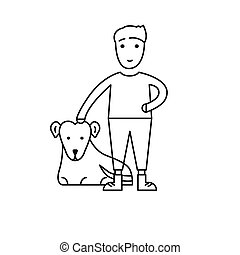 Happy boy with an adopted dog. Emblem for the organization for the adoption of animals. Isolated illustration on a white background. Protection of homeless animals.