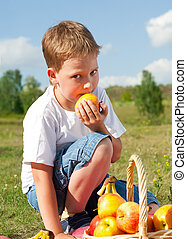 boy with apples