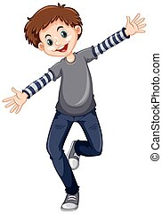Happy boy with big smile illustration