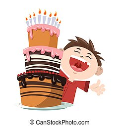 Happy boy with Birthday cake with candles icon over white background, colorful design