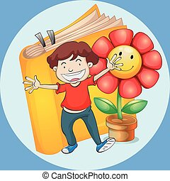 Happy boy with book and flower background
