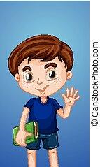Happy boy with book waving hand
