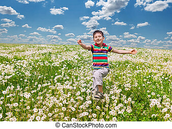 Happy boy with dandelions