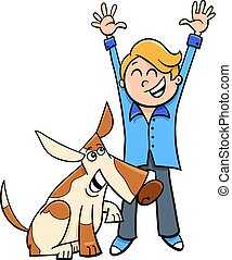 happy boy with dog cartoon illustration