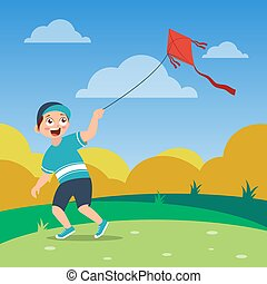 happy boy with green shirt and cap playing kite on the field, cartoon vector illustration