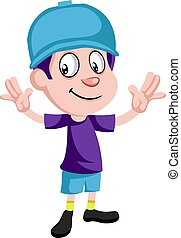 Happy boy with hat, illustration, vector on white background.