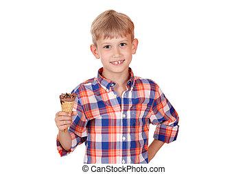 happy boy with ice cream