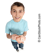 Happy boy with money box