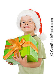 Happy boy with present