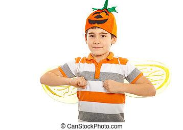 Happy boy with pumpkin hat