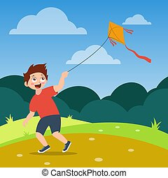 happy boy with red shirt playing kite on the field, cartoon vector illustration